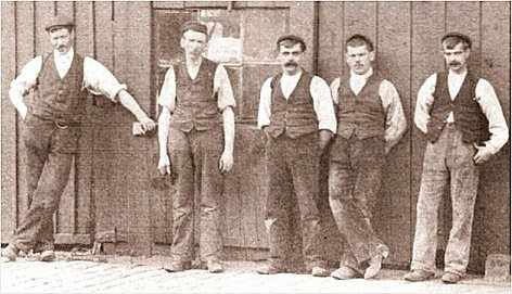 Workmen in Fleetwood, on a break