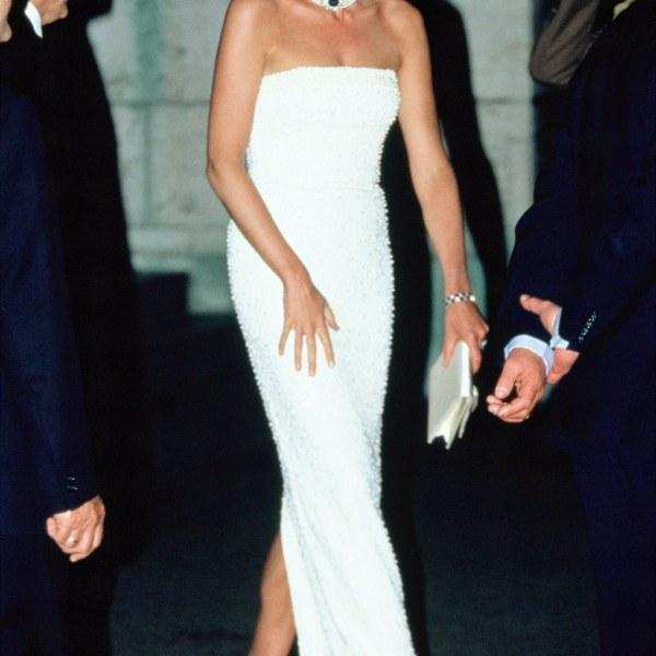 Diana in a slim column dress