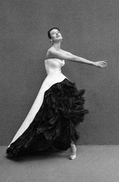 1951 White pique evening dress cut away to reveal black organza underskirt