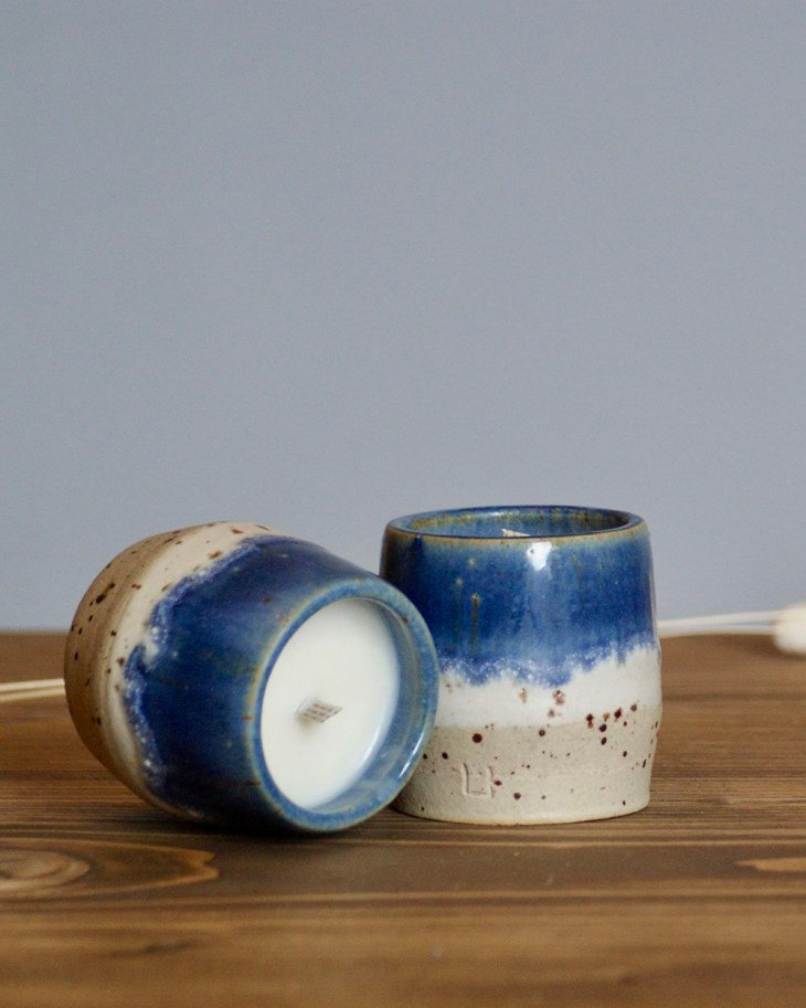 Detail of AGNI blue two-toned ceramic candles