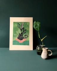 Contemporary illustrated postcard of flowers in a bowl propped up against a green background
