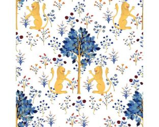 Medieval Tapestry Wallpaper in Pure White