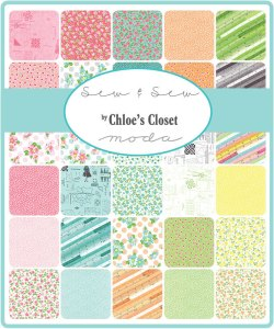 Sew and Sew - Moda Fabric - Chloe's Closet Pastel Sewing Notions Patterns Rulers Quilt Fabric Collection-Moda Charm Pack 5 inch squares 3318