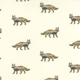 Alpine Fabric - Moda Fabric - Half Yard - Erin Michael Novelty Foxy Fields Natural Camo Foxes on Cream White Novelty Fox Fabric 2610311