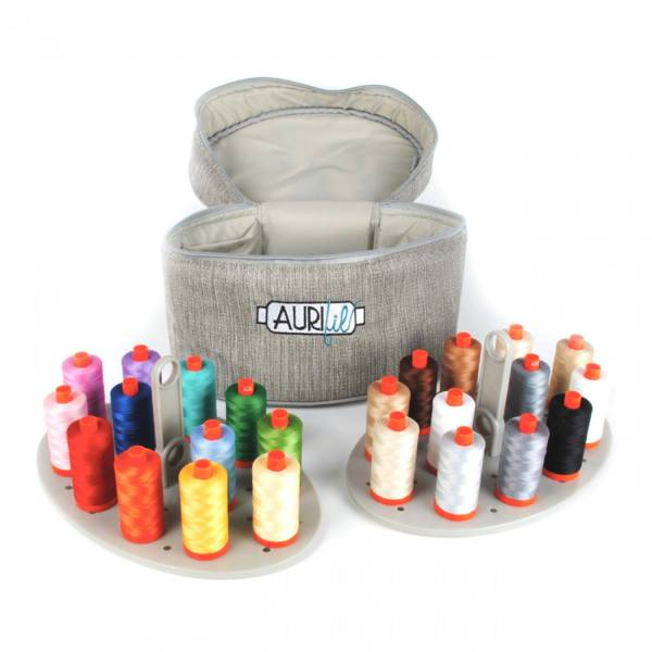 Aurifil Thread Assorted Colors Limited Edition Train Case 24 x 50wt spools 1422yds each Sewing Thread, Quilting Thread, Applique Thread