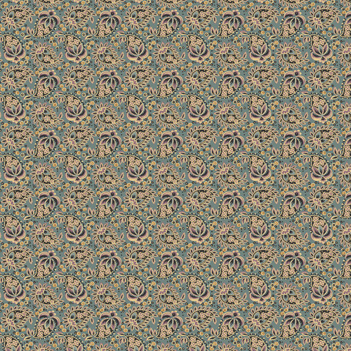 Beckwith Fabric – Half Yard – Kathy Hall – Blue with Floral ... : designer quilt fabric - Adamdwight.com