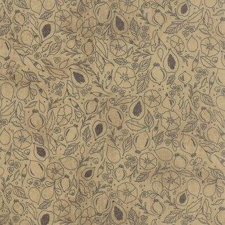 Black Tie Affair - Half Yard - Moda Fabric Floral Fig Study Gray on Tan Brown Quilting Quilt Fabric Basicgrey Basic Grey Gray 30422 13