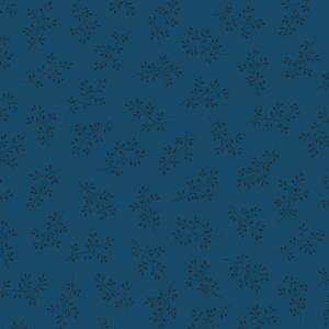 Blue Sky Fabric - Andover Fabric - Half Yard - Black Floral Clusters on Dark Blue Fabric Edyta Sitar Laundry Basket Quilts Fabric A-8511-B