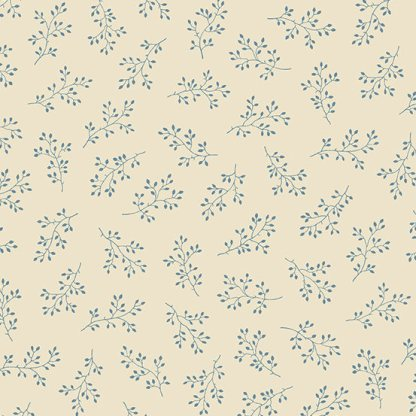 Blue Sky Fabric - Andover Fabric - Half Yard - Dark Blue Floral Clusters on Cream Fabric Edyta Sitar Laundry Basket Quilts Fabric A-8511-L