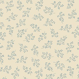 Blue Sky Fabric - Andover Fabric - Half Yard - Dark Blue Floral Clusters on Cream Fabric Edyta Sitar Laundry Basket Quilts Fabric A-8511-L