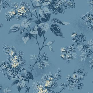 Blue Sky Fabric - Andover Fabric - Half Yard - Dark Blue Large Scale Floral on Blue Fabric Edyta Sitar Laundry Basket Quilts Fabric A-8505-W