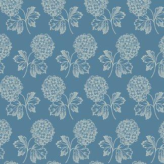 Blue Sky Fabric - Andover Fabric - Half Yard - Hydrangea Clusters on Medium Blue Fabric Edyta Sitar Laundry Basket Quilts Fabric A-8506-W