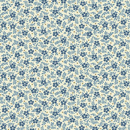 Blue Sky Fabric - Andover Fabric - Half Yard - Reproduction Dark Blue Daisy Flowers on Cream Edyta Sitar Laundry Basket Quilts A-8509-L