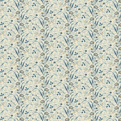 Blue Sky Fabric - Andover Fabric - Half Yard - Tan and Blue Flowers on Cream Shirting Fabric Edyta Sitar Laundry Basket Quilts A-8508-B