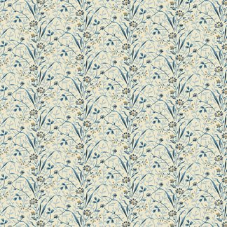 Blue Sky Fabric - Andover Fabric - Half Yard - Tan and Blue Flowers on Cream Shirting Fabric Edyta Sitar Laundry Basket Quilts A-8508-B