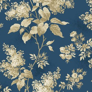 Blue Sky Fabric - Andover Fabric - Half Yard - Tan Large Scale Floral on Dark Blue Fabric Edyta Sitar Laundry Basket Quilts Fabric A-8505-B