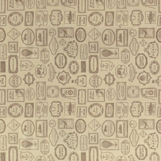 Bon Voyage - Oyster Brown Taupe Grey Gray Tan Labels Writing Script Balloons - French General Moda Designer Fabric - Half Yard Cut 13703 16