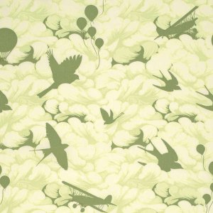 BUMBLE - Sprout Greens Clouds Birds, Hot Air Balloons, Airplanes Peached Poplin by Tula Pink Free Spirit Fabrics - Yardage - PETP0058SPRO