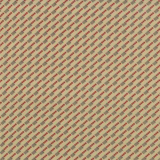 COLLECTIONS for a CAUSE LOVE Diagonal Stripe Natural Cream with Red Brown Reproduction Print Howard Marcus Moda Fabric - 1/2 Yard 4616711G