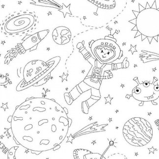 Color Me To the Moon and Back Fabric - Half Yard - Black & White Astronaut Spaceship Outer Space Coloring from Michael Miller DC6809-WHIT-D
