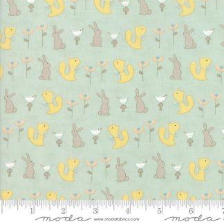 Corner of 5th and Fun - Moda Fabric - Half Yard - Sandy Gervais Little Animals Bunny Squirrel Bird on Teal Blue Nursery Fabric 17902 13