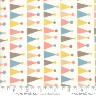 Corner of 5th and Fun - Moda Fabric - Half Yard - Sandy Gervais Party Hats Natural Ivory Cream with Rosie Pinks Nursery Fabric 17904 11