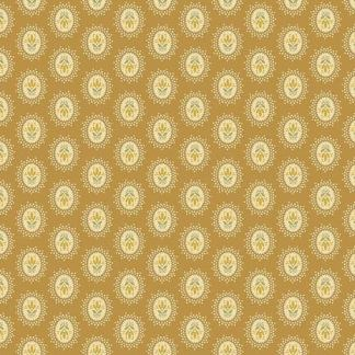 Crystal Farm Fabric - Andover Fabric - Half Yard - Edyta Sitar Laundry Basket Quilts Cameo Medallion Dots on Butterscotch Gold A-8616-Y