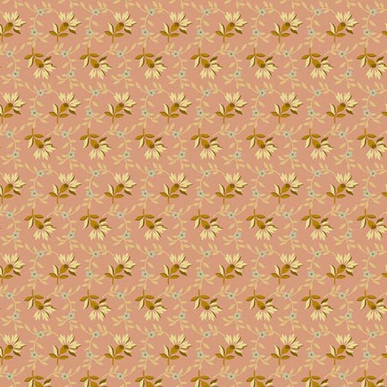 Crystal Farm Fabric - Andover Fabric - Half Yard - Edyta Sitar Laundry Basket Quilts Cream Aqua and Gold Flowers on Pink A-8618-E