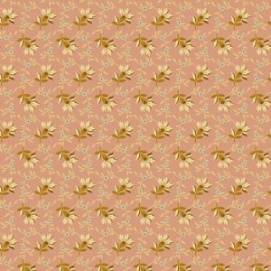 Crystal Farm Fabric - Andover Fabric - Half Yard - Edyta Sitar Laundry Basket Quilts Cream Aqua and Gold Flowers on Pink A-8618-E