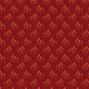 Crystal Farm Fabric - Andover Fabric - Half Yard - Edyta Sitar Laundry Basket Quilts Elderberry Floral Gold Tan on Rich Red A-8619-R