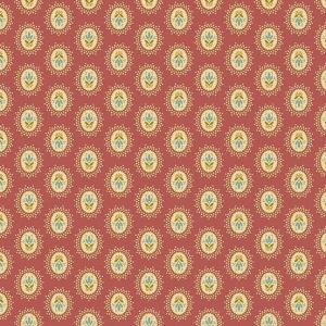 Crystal Farm Fabric - Andover Fabric - Half Yard - Edyta Sitar Laundry Basket Quilts Floral Cameo Medallion Dots on Red A-8616-R