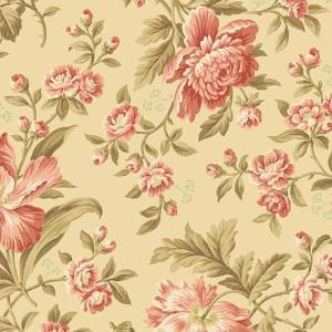 Crystal Farm Fabric - Andover Fabric - Half Yard - Edyta Sitar Laundry Basket Quilts Floral Pink Large Scale Roses Cream Off White A-8614-L
