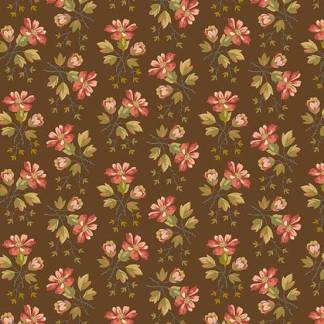Crystal Farm Fabric - Andover Fabric - Half Yard - Edyta Sitar Laundry Basket Quilts Floral Pink Wildflowers on Chocolate Brown A-8615-N