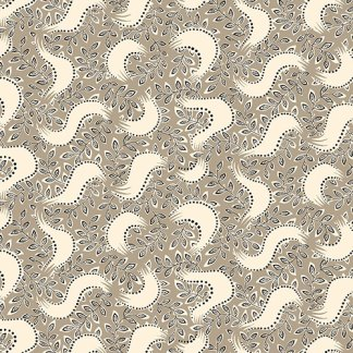 Downton Abbey Fabric Shirtings - Half Yard - Light Brown with Off White Floral Design Reproduction Fabric Andover - A 7323 GN