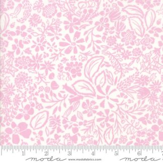 Early Bird Fabric - Half Yard - Moda Fabric - White with Pink Flowers Floral Splendor by Kate Spain Quilting Sewing Fabric Moda 27264 15