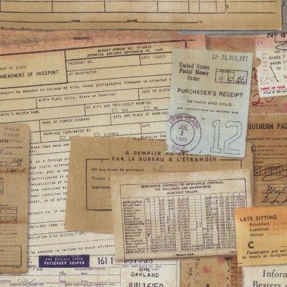 Eclectic Elements Documentation -Half Yard - Tim Holtz Fabric Neutral Documents Ledgers Bills Old Fashioned Vintage Style Quilt PWTH002NEUTR