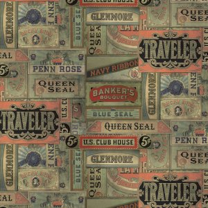 Eclectic Elements - Half Yard - Cigarbox Labels - Tim Holtz - Cigar Labels Old Fashioned Vintage Designer Quilting Fabric PWTH015-MULTI