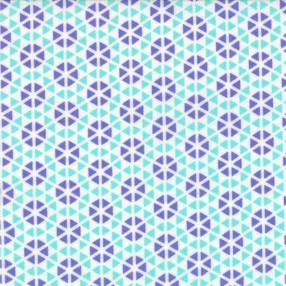 Hubba Hubba - Half Yard - Floral Diamond Geometric Turquoise and Purple Blues Me & My Sister Designs Modern Quilting Fabric Moda 2221428
