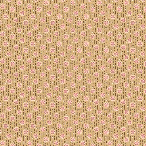 Isabella Fabric - Half Yard - Jo Morton - Tan with Little Pink Clover Leaves Design Quilting Quilt Fabric Andover Reproduction - A-7733-BN