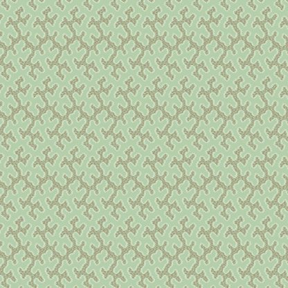 Key West Fabric - Half Yard - Light Green with Coral Design Small Scale Print Di Ford Reproduction Quilt Fabric Andover A-7971-V