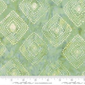 Latitude Batik Fabric - Moda Fabric - Half Yard - Kate Spain Light Green Polka Dot Diamonds Direction Hand Dyed Quilt Fabric 27250-273
