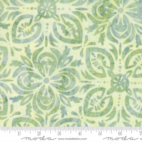 Latitude Batik Fabric - Moda Fabric - Half Yard - Kate Spain Ocean Light Green on White Navigate Hand Dyed Fabric Quilt Fabric 27250 370