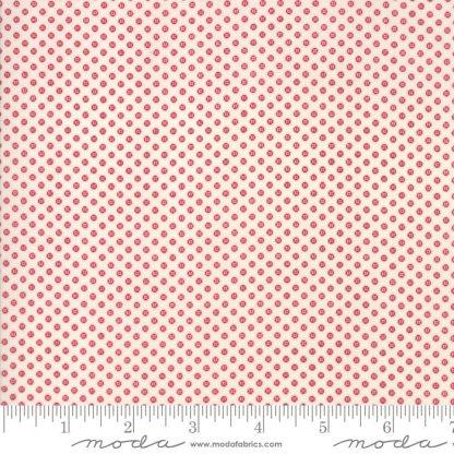 Liberty Gatherings Fabric - Moda Fabric - Half Yard - Red Dots Circles on White Small Scale Shirting Fabric Primitive Gatherings 1206 21