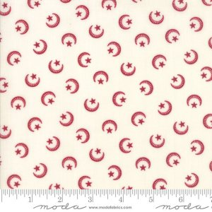 Liberty Gatherings Fabric - Moda Fabric - Half Yard - Red Moons and Stars on White Small Scale Shirting Fabric Primitive Gatherings 1200 21