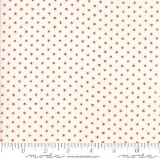 Liberty Gatherings Fabric - Moda Fabric - Half Yard - Red Tiny Stars on Cream White Small Scale Shirting Fabric Primitive Gatherings 1205 21