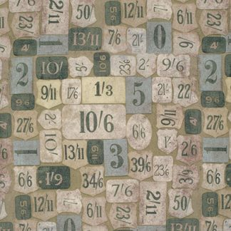 Mercantile Fabric - Half Yard - Foundations - Tim Holtz Designer Quilt Fabric Eclectic Elements Number Tags Price Tags PWTH018.8GREE