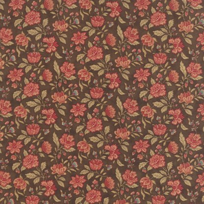 Mille Couleurs Floral Jardin Walnut Brown with Pink Flowers Roses Designer Quilting Sewing Fabric 3 Sisters Moda - 1/2 Yard 44085 12