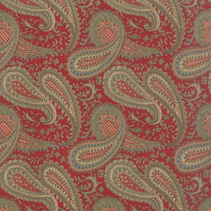Mille Couleurs Floral Paisley Rouge Red with Pink and Aqua Large Scale Designer Quilting Fabric by 3 Sisters for Moda - 1/2 Yard 44084 13