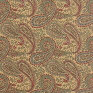 Mille Couleurs Floral Paisley Sepia Tan with Red and Aqua Large Scale Designer Quilting Sewing by 3 Sisters for Moda - 1/2 Yard 44084 11