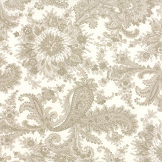 Miss Scarlet - Half Yard - Moda Fabric White with Large Scale Paisley Natural Ivory Gray Taupe Quilt Fabric Minick and Simpson 14810 11